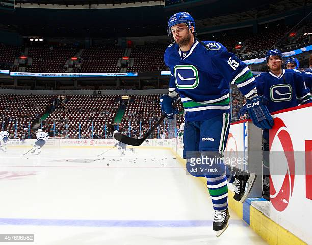 Brad Richardson of the Vancouver Canucks steps onto the ice during their NHL game against theTampa Bay Lightning at Rogers Arena October 18 2014 in...