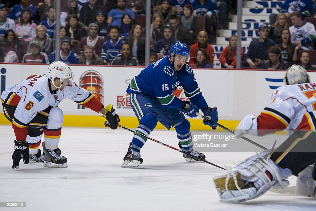 <a gi-track='captionPersonalityLinkClicked' href=/galleries/search?phrase=Brad+Richardson&family=editorial&specificpeople=638058 ng-click='$event.stopPropagation()'>Brad Richardson</a> #15 of the Vancouver Canucks takes a shot on the net of Karri Ramo #31 of the Calgary Flames on January 18, 2014 at Rogers Arena in Vancouver, British Columbia, Canada.