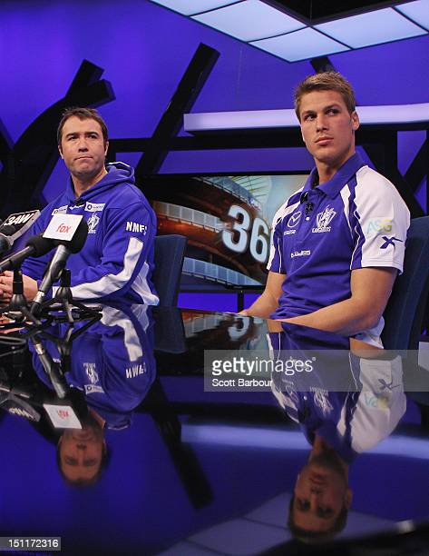 Brad Scott and Andrew Swallow of the North Melbourne Kangaroos speak to the media during the 2012 AFL Finals Series Launch at the Melbourne Fox...