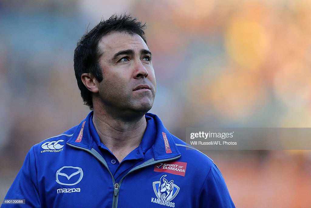Brad Scott coach of the Kangaroos looks on before the AFL Second Preliminary Final match between the West Coast Eagles and the North Melbourne...