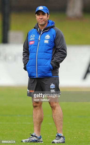 Brad Scott coach of the Kangaroos looks on during a North Melbourne Kangaroos AFL training session at Arden Street Ground on June 22 2017 in...