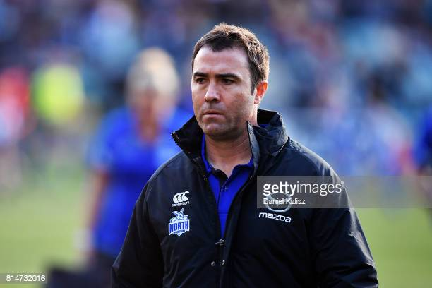 Brad Scott head coach of the Kangaroos walks from the field at half time during the round 17 AFL match between the Port Adelaide Power and the North...
