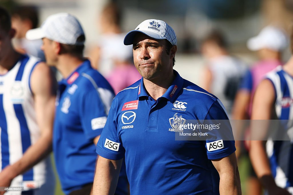Brad Scott of the Kangaroos looks on during the NAB Challenge AFL match between the Adelaide Crows and the North Melbourne Kangaroos at Centenary...