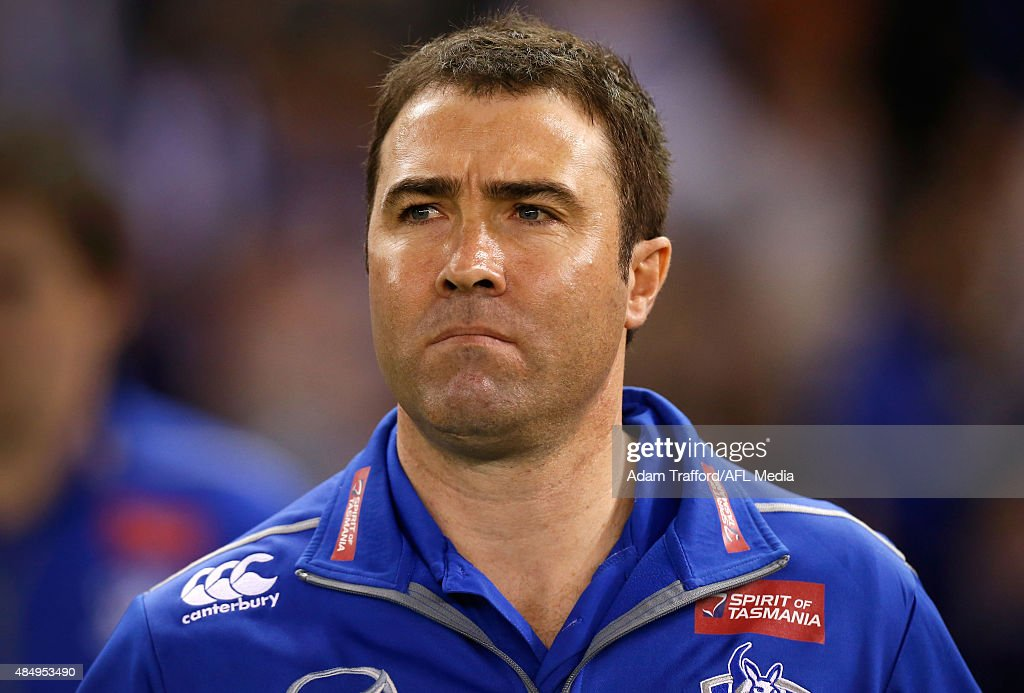 Brad Scott Senior Coach of the Kangaroos looks on during the 2015 AFL round 21 match between the North Melbourne Kangaroos and the Fremantle Dockers...