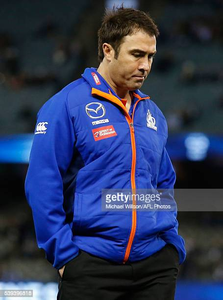 Brad Scott Senior Coach of the Kangaroos looks on during the 2016 AFL Round 12 match between the Geelong Cats and the North Melbourne Kangaroos at...