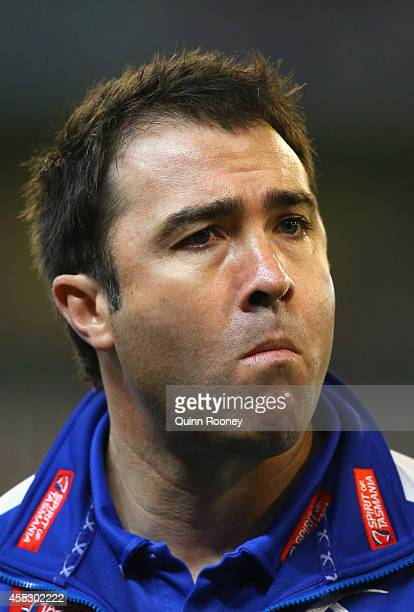 Brad Scott the coach of the Kangaroos looks on during the AFL 2nd Semi Final match between the Geelong Cats and the North Melbourne Kangaroos at the...