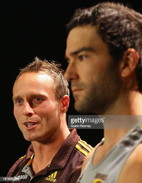 Brad Sewell and Jordan Lewis of the Hawks speak to the media during a Hawthorn Hawks AFL training session at Waverley Park on September 24 2013 in...