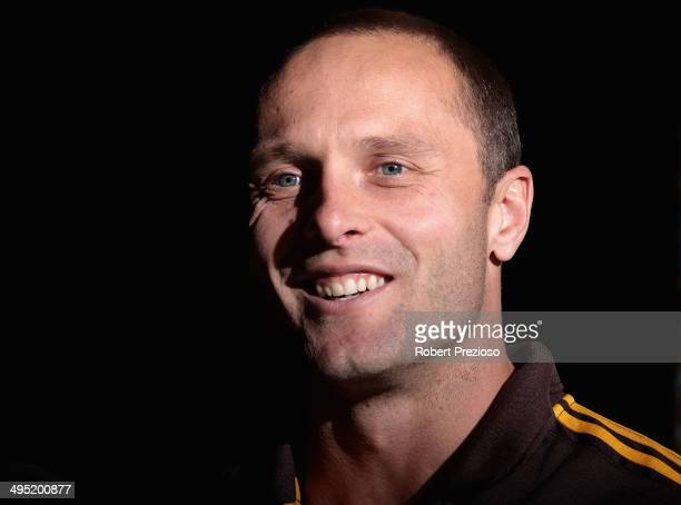 Brad Sewell of the Hawks speaks to the media during a Hawthorn Hawks AFL media session at Waverley Park on June 2 2014 in Melbourne Australia