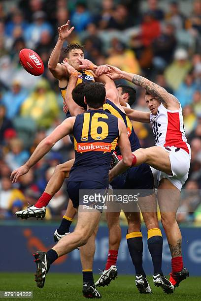 Brad Sheppard of the Eagles contests a mark during the round 18 AFL match between the West Coast Eagles and the Melbourne Demons at Domain Stadium on...