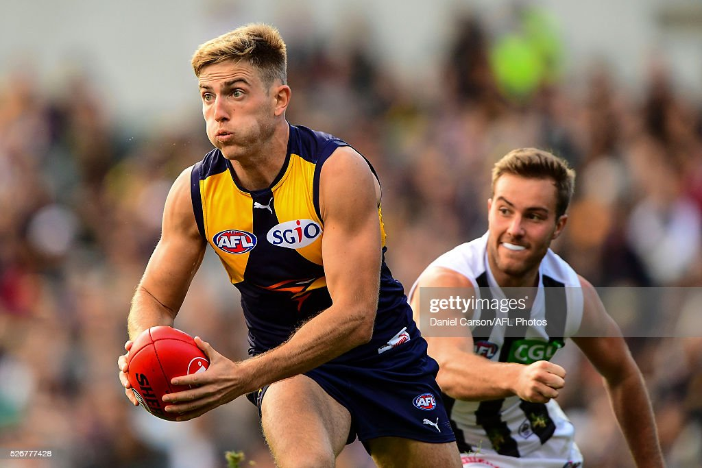 Brad Sheppard of the Eagles in action during the 2016 AFL Round 06 match between the West Coast Eagles and the Collingwood Magpies at Domain Stadium, Perth on May 1, 2016.