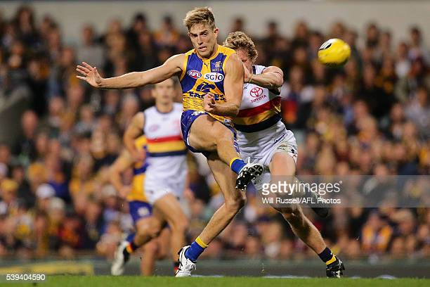 Brad Sheppard of the Eagles kicks the ball during the round 12 AFL match between the West Coast Eagles and the Adelaide Crows at Domain Stadium on...