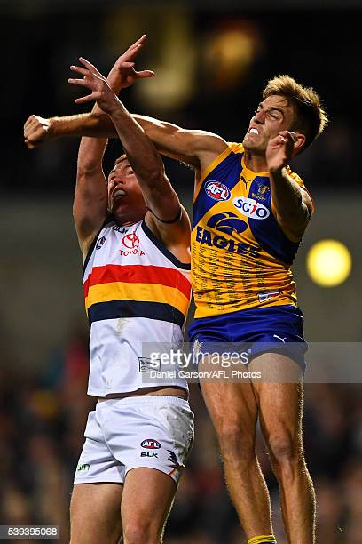 Brad Sheppard of the Eagles spoils Kyle Cheney of the Crows during the 2016 AFL Round 12 match between the West Coast Eagles and the Adelaide Crows...