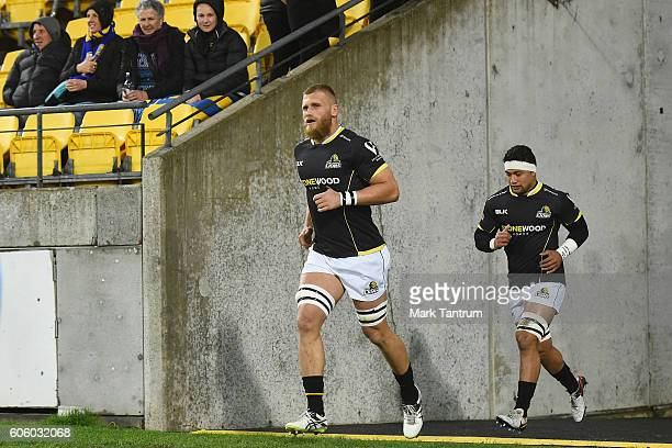 Brad Shields and Greg Foe of the Wellington Lions run out before the Mitre 10 Cup round five match between Wellington and Bay of Plenty at Westpac...