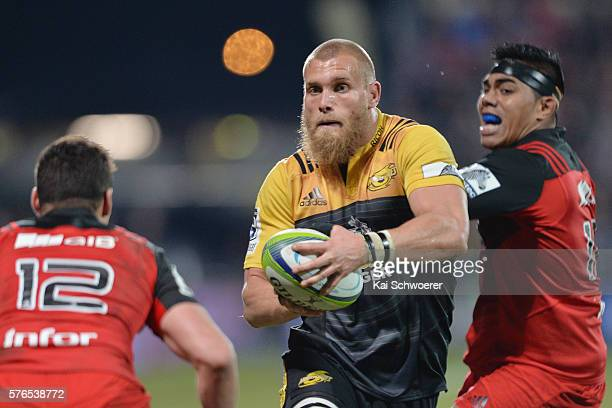 Brad Shields of the Hurricanes charges forward during the round 17 Super Rugby match between the Crusaders and the Hurricanes at AMI Stadium on July...