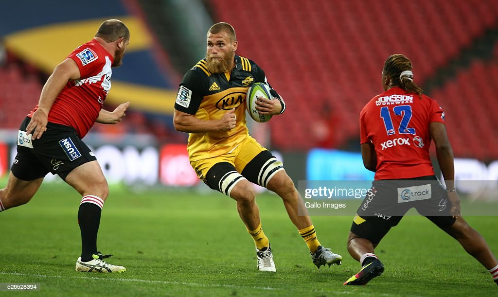 Brad Shields of the Hurricanes during the round 10 Super Rugby match between Emirates Lions and Hurricanes at Emirates Airline Park on April 30, 2016 in Johannesburg, South Africa.