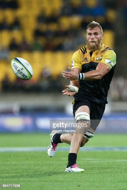 Brad Shields of the Hurricanes in action during the round four Super Rugby match between the Hurricanes and the Highlanders at Westpac Stadium on...