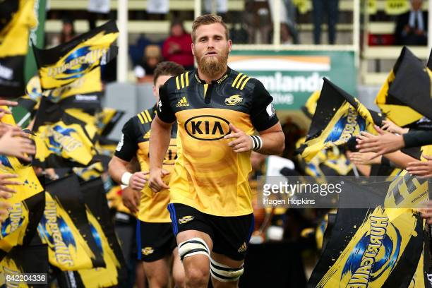 Brad Shields of the Hurricanes takes the field during the Super Rugby preseason match between the Hurricanes and the Crusaders at Border Rugby Club...