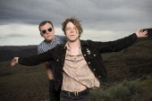 Brad Shultz and Mathew Shultz of the band Cage the Elephant pose for a portrait backstage on day 1 of Sasquatch Music Festival at the Gorge...