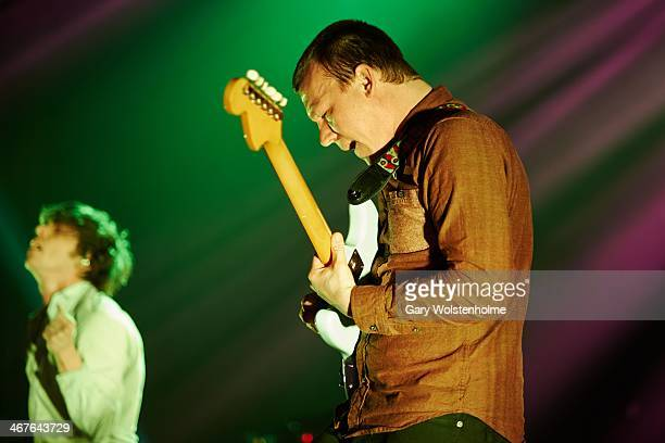 Brad Shultz of Cage The Elephant performs on stage at Manchester Apollo on February 7 2014 in Manchester United Kingdom