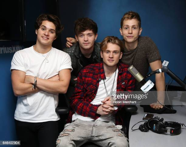 Brad Simpson James McVey Connor Ball and Tristan Evans of The Vamps at SiriusXM Studios on February 28 2017 in New York City