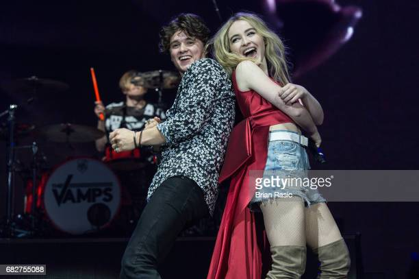 Brad Simpson of The Vamps and Sabrina Carpenter perform at The O2 Arena on May 13 2017 in London England