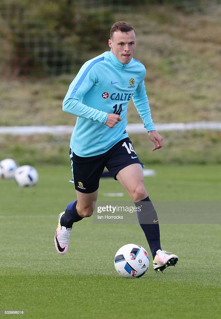 Brad Smith during a Australia National football team training session at The Academy of Light on May 24, 2016 in Sunderland, England.