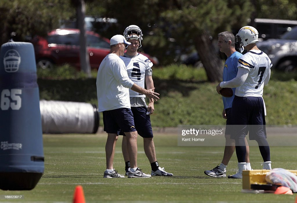 SAN DIEGO, CA - MAY 10 - Brad Sorensen #4 of the San Diego Chargers listens to coaching instruction during Rookie Camp at the team's practice facility on May 10, 2013 in San Diego, California.