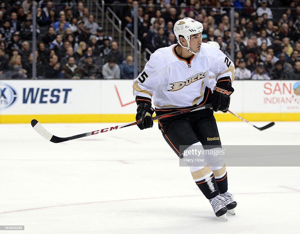 Brad Staubitz #25 of the Anaheim Ducks waits for a pass during the game against the Los Angeles Kings at Staples Center on February 25, 2013 in Los Angeles, California.