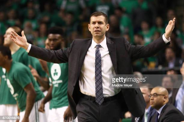 Brad Stevens Head Coach of the Boston Celtics disputes a call during the third quarter of Game Two of the Eastern Conference Quarterfinals against...