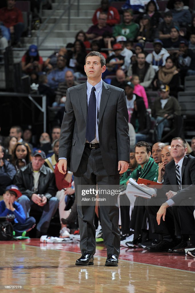 <a gi-track='captionPersonalityLinkClicked' href=/galleries/search?phrase=Brad+Stevens&family=editorial&specificpeople=5022542 ng-click='$event.stopPropagation()'>Brad Stevens</a>, Head Coach of the Boston Celtics looks on during the game against the Detroit Pistons on November 3, 2013 at The Palace of Auburn Hills in Auburn Hills, Michigan.