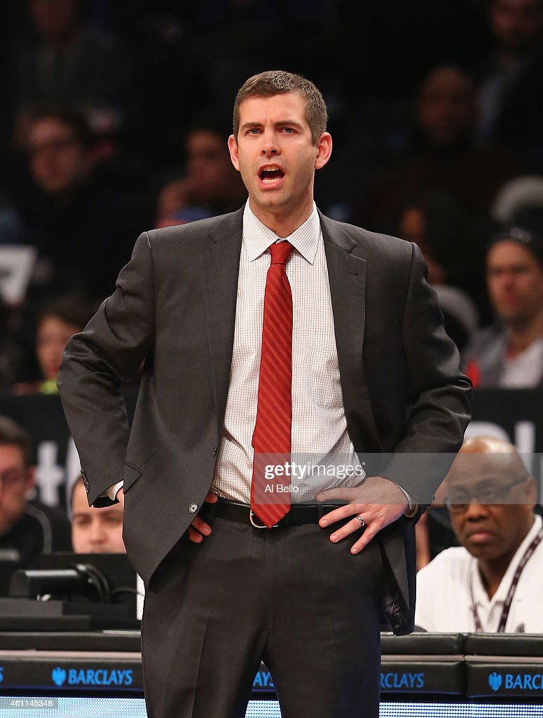 <a gi-track='captionPersonalityLinkClicked' href=/galleries/search?phrase=Brad+Stevens&family=editorial&specificpeople=5022542 ng-click='$event.stopPropagation()'>Brad Stevens</a>, Head Coach of the Boston Celtics shouts instructions to his team against the Brooklyn Nets during their game at the Barclays Center on January 7, 2015 in New York City.