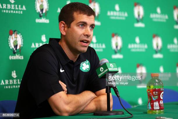 Brad Stevens head coach of the Boston Celtics takes questions from reporters during Celtics Media Day at High Output Studios on September 25 2017 in...