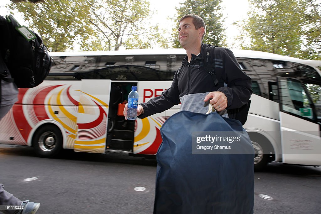 Brad Stevens of the Boston Celtics arrive at the Excelsior Hotel during the 2015 Global Games on October 3, 2015 in Milan, Italy.