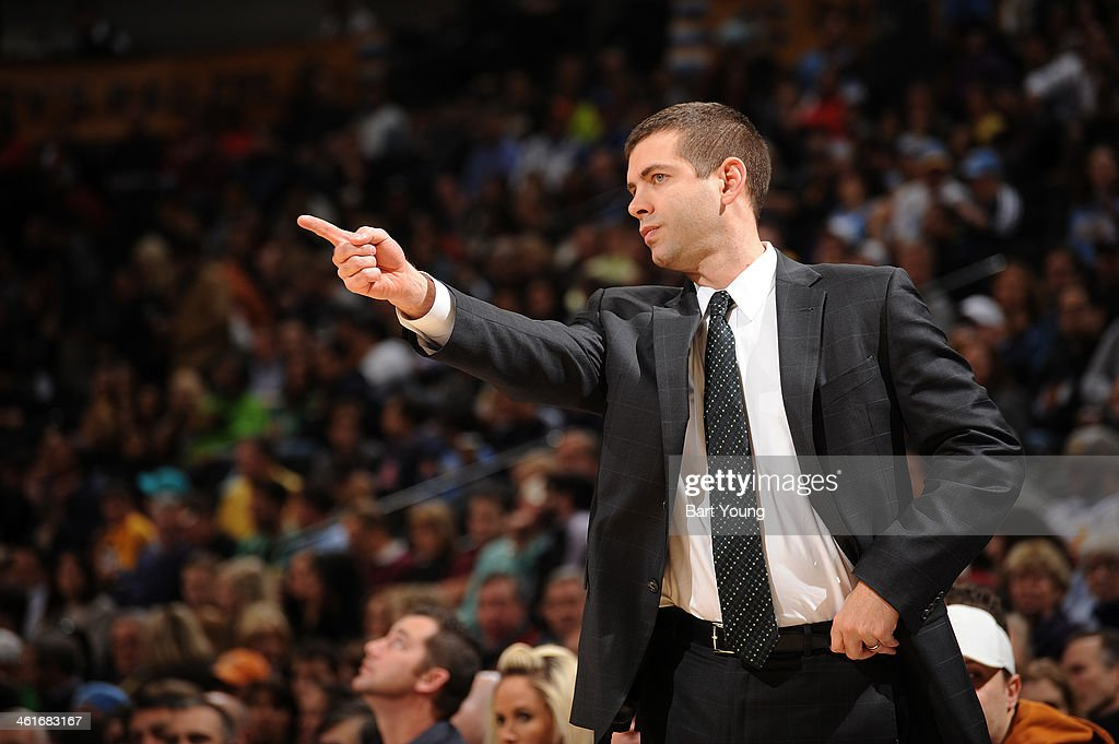<a gi-track='captionPersonalityLinkClicked' href=/galleries/search?phrase=Brad+Stevens&family=editorial&specificpeople=5022542 ng-click='$event.stopPropagation()'>Brad Stevens</a> of the Boston Celtics coaches against the Denver Nuggets on January 7, 2014 at the Pepsi Center in Denver, Colorado.