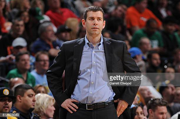 Brad Stevens of the Boston Celtics coaches against the Denver Nuggets on February 21 2016 at the Pepsi Center in Denver Colorado NOTE TO USER User...