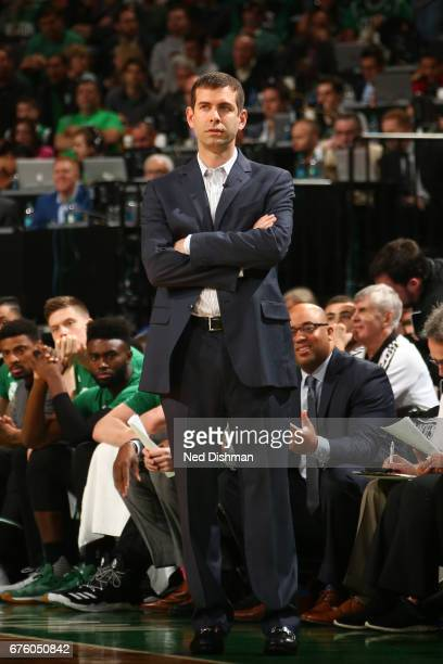 Brad Stevens of the Boston Celtics coaches against the Washington Wizards in Game One of the Eastern Conference Semifinals of the 2017 NBA Playoffs...