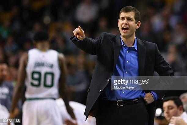 Brad Stevens of the Boston Celtics directs his team during the fourth quarter at TD Garden on January 6 2016 in Boston Massachusetts The Pistons...