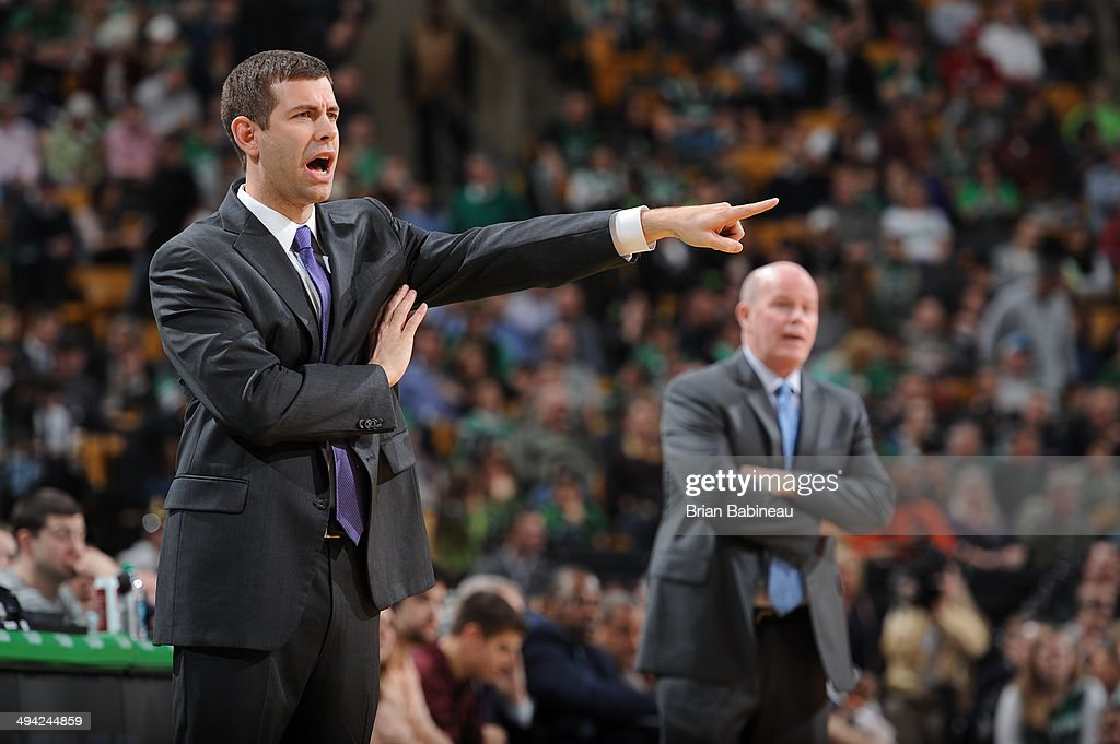 <a gi-track='captionPersonalityLinkClicked' href=/galleries/search?phrase=Brad+Stevens&family=editorial&specificpeople=5022542 ng-click='$event.stopPropagation()'>Brad Stevens</a> of the Boston Celtics directs his team during the game against the Charlotte Bobcats on April 11, 2014 at the TD Garden in Boston, Massachusetts.