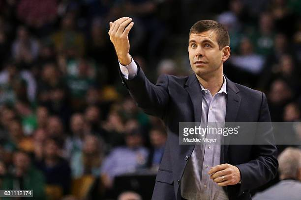 Brad Stevens of the Boston Celtics directs his team during the second half against the Philadelphia 76ers at TD Garden on January 6 2017 in Boston...