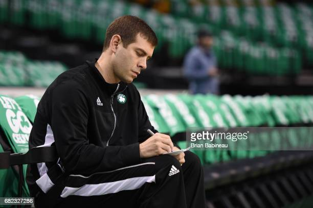 Brad Stevens of the Boston Celtics draws up plays before Game Five of the Eastern Conference Semifinals against the Washington Wizards during the...