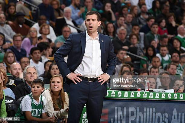 Brad Stevens of the Boston Celtics is seen during the game against the Orlando Magic on March 21 2016 at the TD Garden in Boston Massachusetts NOTE...
