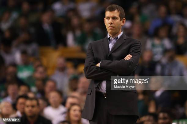 Brad Stevens of the Boston Celtics looks on during the first half against the Charlotte Hornets at TD Garden on October 2 2017 in Boston...