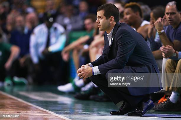 Brad Stevens of the Boston Celtics looks on during the second half against the Chicago Bulls at TD Garden on December 9 2015 in Boston Massachusetts...