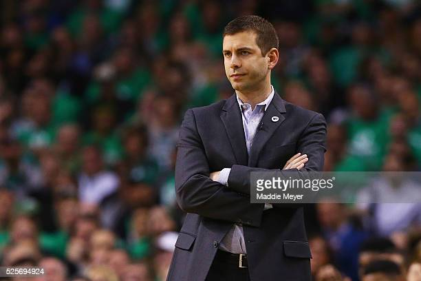 Brad Stevens of the Boston Celtics looks on during the second quarter of Game Six of the Eastern Conference Quarterfinals against the Atlanta Hawks...