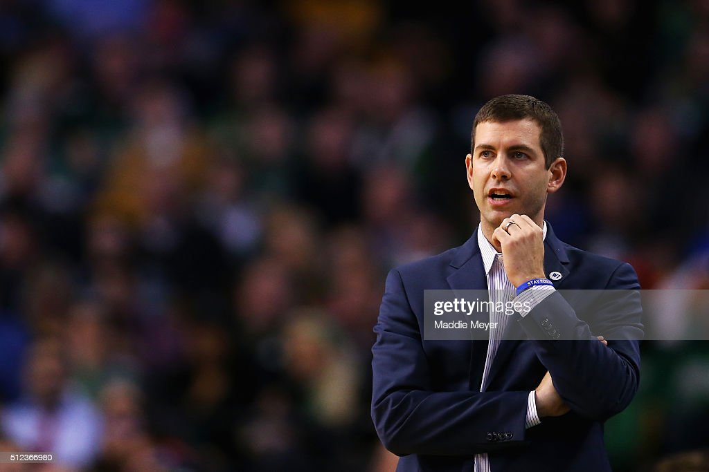 <a gi-track='captionPersonalityLinkClicked' href=/galleries/search?phrase=Brad+Stevens&family=editorial&specificpeople=5022542 ng-click='$event.stopPropagation()'>Brad Stevens</a> of the Boston Celtics looks on during the third quarter against the Milwaukee Bucks at TD Garden on February 25, 2016 in Boston, Massachusetts.