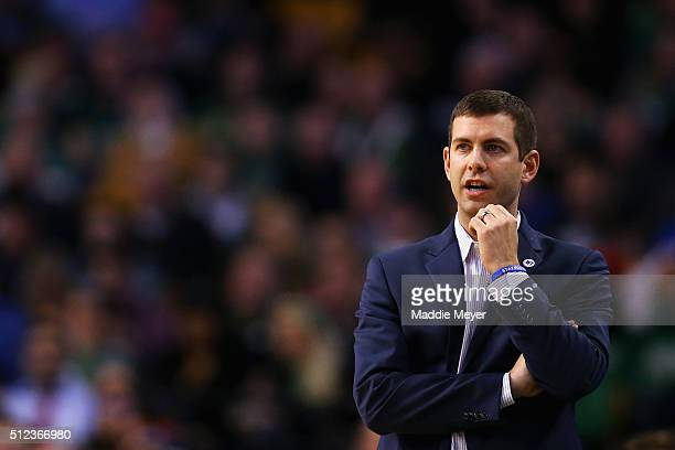 Brad Stevens of the Boston Celtics looks on during the third quarter against the Milwaukee Bucks at TD Garden on February 25 2016 in Boston...