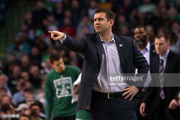 Brad Stevens of the Boston Celtics looks on from the bench in the fourth quarter against the Miami Heat at TD Garden on April 13 2016 in Boston...