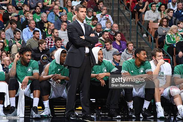 Brad Stevens of the Boston Celtics on the sidelines against the Philadelphia 76ers on October 23 2015 at the Verizon Wireless Arena in Manchester New...