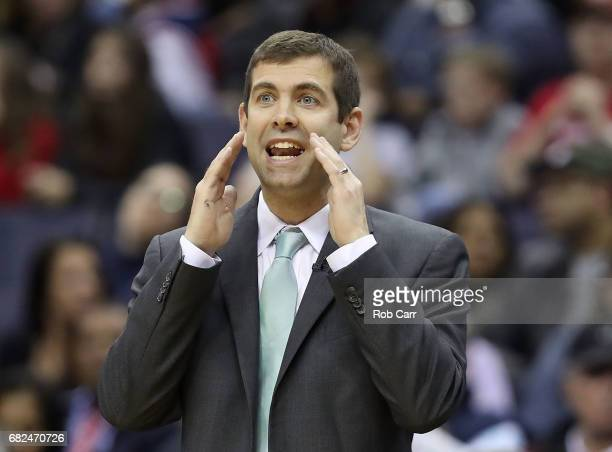 Brad Stevens of the Boston Celtics reacts against the Washington Wizards during Game Six of the NBA Eastern Conference SemiFinals at Verizon Center...