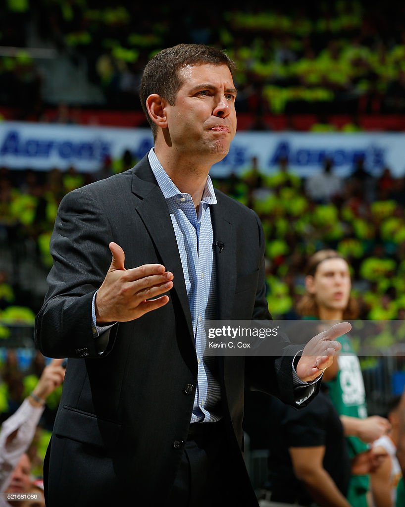 <a gi-track='captionPersonalityLinkClicked' href=/galleries/search?phrase=Brad+Stevens&family=editorial&specificpeople=5022542 ng-click='$event.stopPropagation()'>Brad Stevens</a> of the Boston Celtics reacts to a call against the Atlanta Hawks in Game One of the Eastern Conference Quarterfinals during the 2016 NBA Playoffs at Philips Arena on April 16, 2016 in Atlanta, Georgia. NOTE TO USER User expressly acknowledges and agrees that, by downloading and or using this photograph, user is consenting to the terms and conditions of the Getty Images License Agreement.